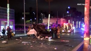 Authorities investigate a crash in Beverly Hills on April 27, 2018. (Credit: RMG News)