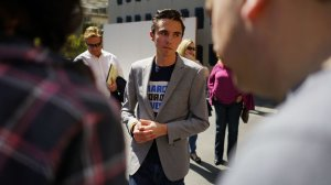 David Hogg, who survived the shooting at Marjory Stoneman Douglas High School in Parkland, Fla., speaks with well-wishers at The Standard in downtown Los Angeles on April 7. (Credit: Kent Nishimura / Los Angeles Times)