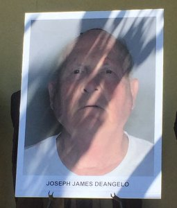 The booking photo for Joseph James DeAngelo was displayed at an afternoon news conference in Sacramento announcing an arrest on April 25, 2018. (Credit: KTXL)