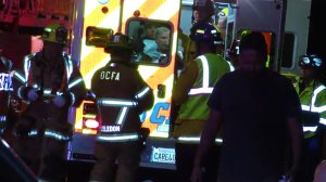 Will Ferrell is seen in an ambulance following a rollover crash on April 12, 2018. (Credit: LA-OC.tv)