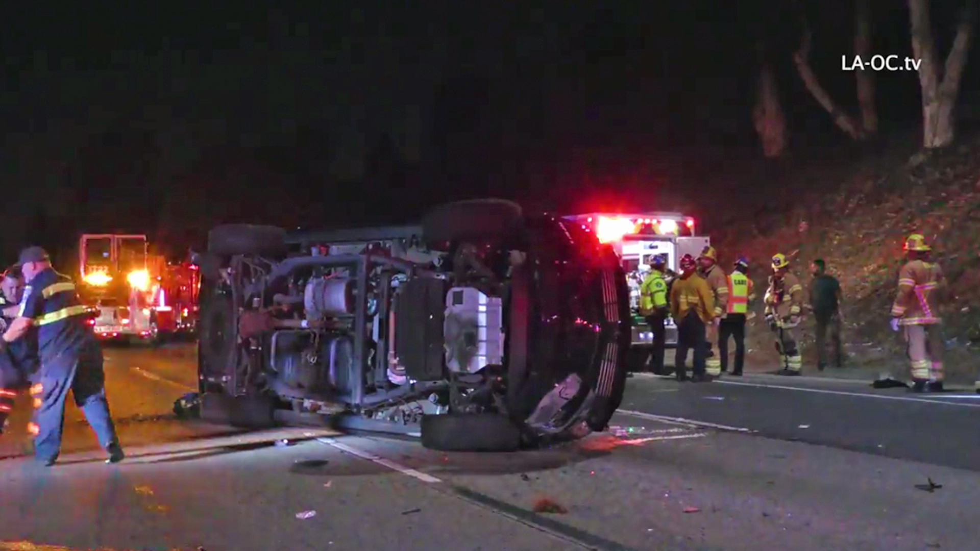 The SUV involved in a crash on the 5 Freeway in Mission Viejo is seen on April 12, 2018. (Credit: LA-OC.tv)