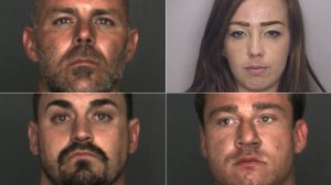 From left to right Jesse Graham, Crystal Conant, Jordan Kory and Jason Bissell are shown in photos released by the Fontana Police Department on April 4, 2018.
