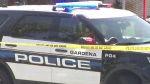 Gardena police respond to an incident on April 11, 2018. (Credit: KTLA)
