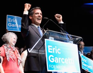 Councilman Eric Garcetti celebrates with supporters at The Hollywood Palladium after being elected as mayor of Los Angeles on May 21, 2013. (Credit: Kevork Djansezian / Getty Images)