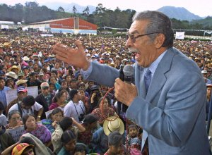 Ex-dictator and President of the Guatemalan Congress, Efrain Rios Montt speaks to supporters at a presidential campaign rally in the western state of Totonicapan, Guatemalan on June 6, 2003. (Credit: Orlando Sierra/AFP/Getty Images)