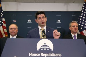House Speaker Paul Ryan (R-WI), (center), speaks to the media while flanked by House Majority Leader Kevin McCarthy (R-CA), (right), and House Majority Whip, Steve Scalise (R-LA) (left), after a meeting with House Republicans on Capitol Hill, on March 6, 2018 in Washington, DC. (Credit: Mark Wilson/Getty Images)