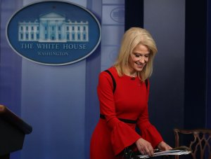 White House counselor Kellyanne Conway finishes an interview with CNN in the briefing Room at the White House on March 23, 2018. (Credit: Mark Wilson / Getty Images)