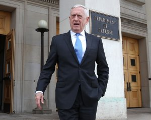 U.S. Secretary of Defense Jim Mattis walks to greet incoming National Security Advisor John Bolton upon Bolton's arrival for a meeting at the Pentagon, on March 29, 2018. (Credit: Mark Wilson/Getty Images)