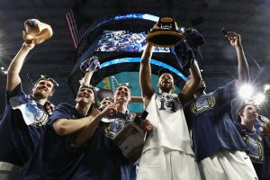 The Villanova Wildcats celebrate after defeating the Michigan Wolverines during the 2018 NCAA Men's Final Four National Championship game at the Alamodome on April 2, 2018 in San Antonio, Texas. (Credit: Ronald Martinez/Getty Images)