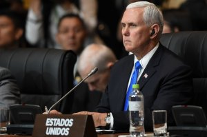 Vice President Mike Pence attends the Eighth Americas Summit in Lima, on April 14, 2018. (Credit: LUKA GONZALES/AFP/Getty Images)