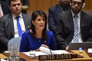 Nikki Haley, U.S. ambassador to the U.N., speaks during a U.N. Security Council meeting at the United Nations Headquarters in New York on April 14, 2018. (Credit: HECTOR RETAMAL/AFP/Getty Images)