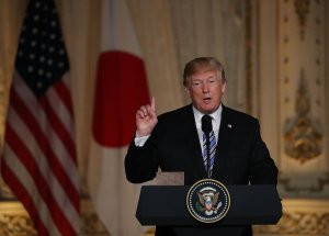 Donald Trump speaks at a joint news conference held with Japanese Prime Minister Shinzo Abe (not pictured) at Mar-a-Lago resort on April 18, 2018 in West Palm Beach, Florida. (Credit: Joe Raedle/Getty Images)