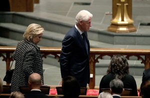 Former President Bill Clinton and former Secretary of State Hillary Clinton arrive at St. Martin's Episcopal Church for a funeral service for former first lady Barbara Bush on April 21, 2018 in Houston, Texas. (Credit: David J. Phillip-Pool/Getty Images)