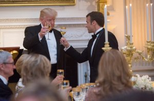 President Donald Trump shares a toast with French President Emmanuel Macron during the State Dinner for the French leader during his visit to The White House, April 24, 2018. (Credit: Chris Kleponis / Getty Images)