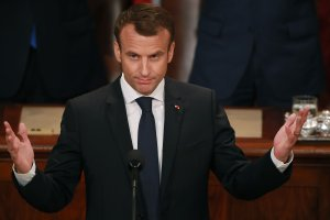 French President Emmanuel Macron acknowledges applause at the conclusion of his address to a joint meeting of the U.S. Congress in the House Chamber at the U.S. Capitol April 25, 2018 in Washington, DC. (Credit: Chip Somodevilla/Getty Images)