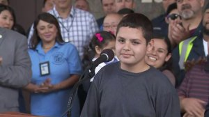 Jesse Hernandez, who fell into the L.A. sewer system on Easter and was rescued after a 12-hour search, appears at a press conference on April 6, 2018. (Credit: KTLA)