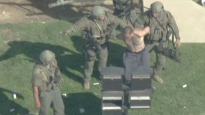 A man is taken into custody after a standoff with sheriff's deputies in Hacienda Heights on April 24, 2018. (Credit: KTLA)