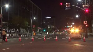 Police cordoned off the area near where two LAPD officers were injured in an early morning crash on April 10, 2018. (Credit: KTLA)