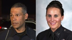 Sgt. James Kelly, left, is seen speaking to KTLA on Sept. 26, 2016, and Cmdr. Nicole Mehringer is seen in a photo from the Los Angeles Police Department's website, where she is listed as Nicole Alberca.