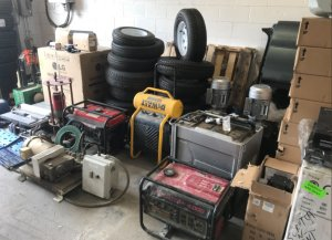Some of the equipment allegedly stolen by the suspects is shown in a photo released by the Fontana Police Department on April 4, 2018.