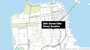 A map showing two San Francisco area gangs is shown in a Los Angeles Times map.