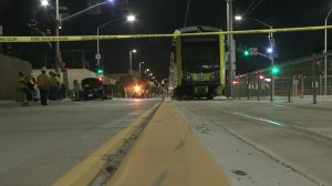 Metro tracks are taped off as officials investigate the scene of a suspected DUI crash involved a Metro train in Santa Monica on April 18, 2018. (Credit: KTLA)