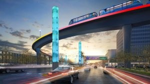 The people mover will pass above Century Boulevard, connecting airport travelers to a Metro station, a ground transportation hub and a consolidated car rental area. (Courtesy Los Angeles World Airports)