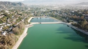 Silver Lake Reservoir is shown from Drone5 on April 10, 2018. (Credit: KTLA)