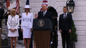 President Trump is hosting French President Emmanuel Macron and his wife as its first state dinner guests. The two leaders get to business on Tuesday following a military welcome on the South Lawn. (Credit: CNN)