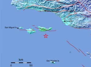 A USGS ShakeMap shows an earthquake that struck off the Channel Islands on April 5, 2018.