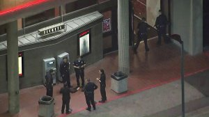 Police investigate a shooting near a CineMark theater in the Valley Glen neighborhood in the North Hollywood area on April 4, 2018. (Credit: KTLA)