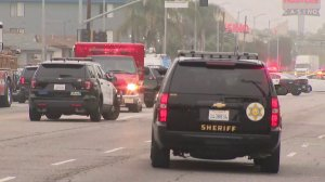Authorities respond to Harbor Gateway neighborhood after report of active shooter. (Credit: KTLA)