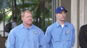 Michael Adams, left, and Kurt Boyer, the men who rescued a 13-year-old boy from L.A.'s sewer system, appear at a press conference on April 6, 2018. (Credit: KTLA)