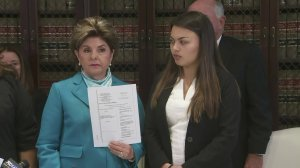 Gloria Allred stands with her client Daniella Mohazab at a news conference May 22, 2018. (Credit: KTLA)
