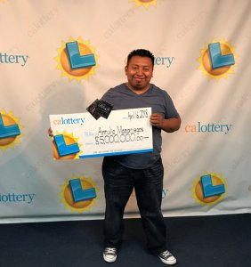The California Lottery released this photo of Antulio Mazariegos after a winning scratcher earned him $5 million.
