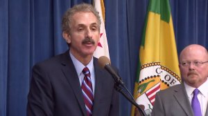 Los Angeles City Attorney Mike Feuer speaks at a news conference announcing a lawsuit against nine drugmakers and manufacturers over their alleged involvement in the opioid crisis on May 3, 2018. (Credit: KTLA)