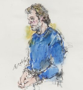 This sketch depicts Stephen Beal as he appeared in court in Santa Ana on May 17, 2018, after an unregistered destructive device was found in his Long Beach home. (Credit: Bill Robles)