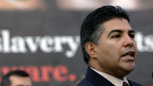 Congressman Tony Cardenas delivers a speech to a group of reporters during a press conference announcing the National Human Trafficking Awareness Day, while he was serving as a city councilman in Los Angeles, on Jan. 11, 2007. (Credit: HECTOR MATA/AFP/Getty Images)