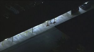 A damaged carport at a Camarillo apartment complex is seen after it was allegedly destroyed by an 18-year-old who took his mom's car on May 10, 2018. (Credit: KTLA)