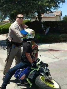 A California Highway Patrol Officer is seen in a Facebook live video posted by Sonia Villalobos on May 27, 2018.