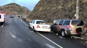 An 18-year-old was in custody after crash on the 101 Freeway near Camarillo left three people injured, including a California Highway Patrol officer, on May 10, 2018. (Credit: California Highway Patrol)