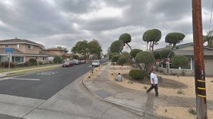 The intersection of Rives Avenue and Brunache Street in Downey, where a 14-year-old girl was sexually battered on May 9, 2018, is seen in a Google Maps Street View image from December 2017.