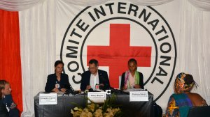 The president of the International Comitte for the Red Cross, Peter Maurer (center), addresses a press conference in Goma on May 18, 2018 following his tour of the Democratic Republic of Congo. (Credit: Alain Wandimoyi/AFP/Getty Images)