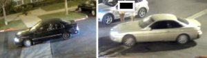 Two vehicles used by suspects in violent robberies in an El Segundo hotel parking lot are seen in images released by El Segundo police on May 10, 2018.