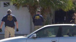 FBI agents searched a home near Rancho Santa Margarita on May 16, 2018. (Credit: KTLA)