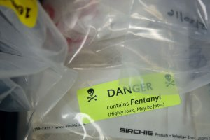 In this file photo, bags of heroin -- some laced with fentanyl -- are displayed before a news conference regarding a major drug bust in New York City on September 23, 2016. In California, fentanyl has showed up in drugs such as cocaine and meth. (Credit: Drew Angerer/Getty Images))