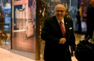 Rudy Giuliani arrives at Trump Tower on Nov. 22, 2016 in New York. (Credit: TIMOTHY A. CLARY/AFP/Getty Images)