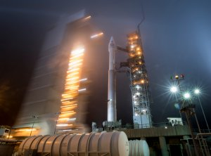 In this handout provided by NASA, the mobile service tower at SLC-3 is rolled back to reveal the United Launch Alliance Atlas-V rocket with the NASA InSight spacecraft onboard on Friday May 4, 2018, at Vandenberg Air Force Base in California. (Credit: Bill Ingalls/NASA via Getty Images)