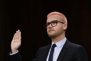 Former director of research for Cambridge Analytica Christopher Wylie is sworn in before testifying to the Senate Judiciary Committee on May 16, 2018, in Washington, D.C. (Credit: Chip Somodevilla/Getty Images)