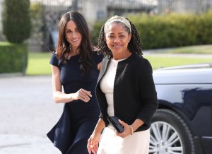 Meghan Markle and her mother, Doria Ragland, arrive at Cliveden House Hotel to spend the night before her wedding to Prince Harry on May 18, 2018, in Berkshire, England. (Credit: Steve Parsons / Getty Images)
